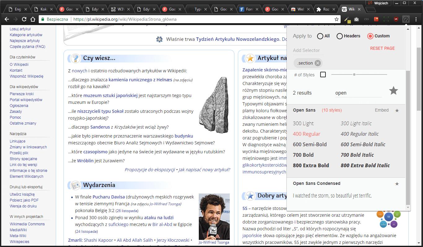 podmiana fonta google fonts