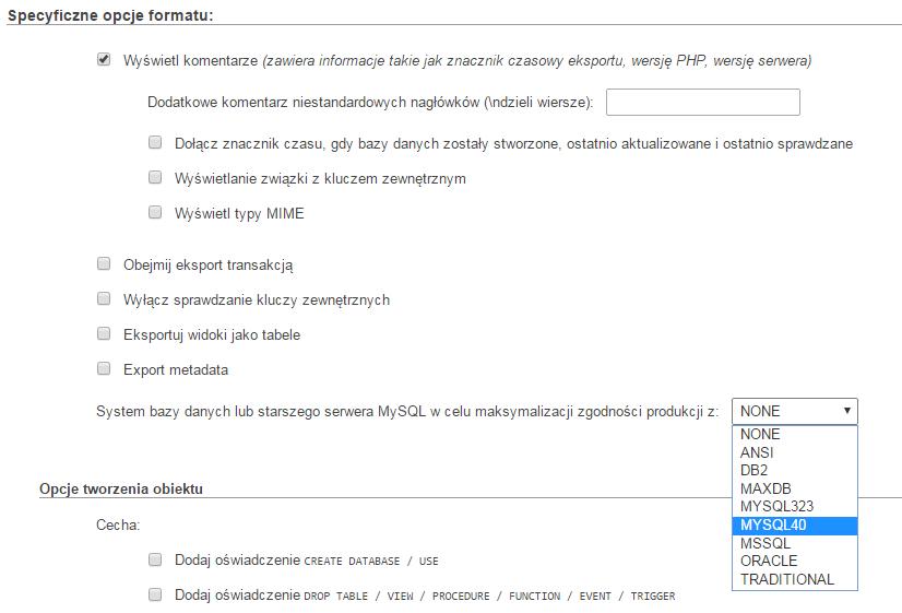 maksymalizacja zgodności wersji bazy mysql