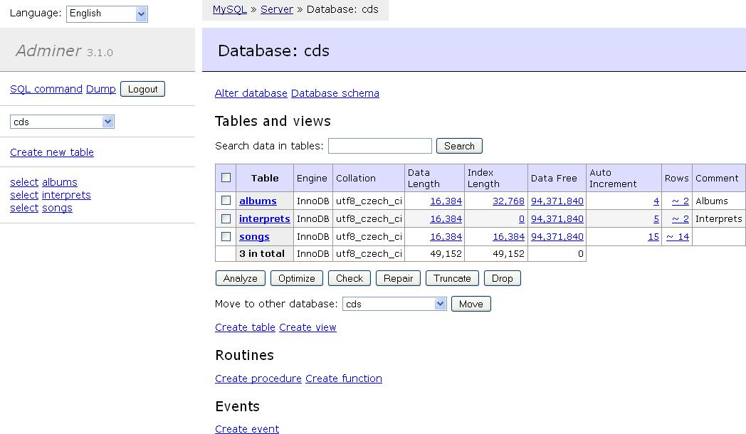 adminer - zarządzanie bazami mysql w jednym pliku